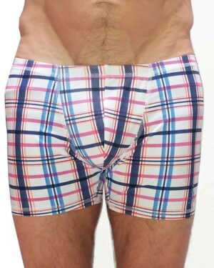 Mens-plaid-yoga-shorts-padmasana