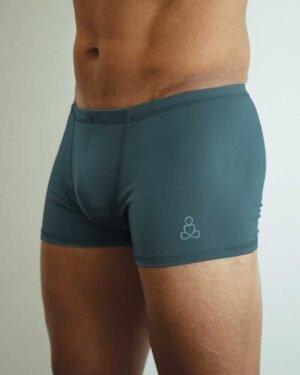 Mens-hot-yoga -shorts-padmasana-dark-steel-blue
