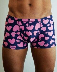Padmasana-mens-yogs-shorts-Hearts-on-navy-print