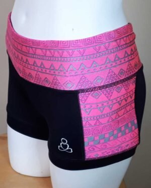 Kayla-yoga-shorts-black-pink-silver-tribal-by-Sweat-n-Stretch