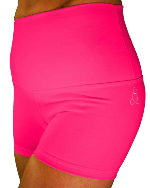womens-yoga-shorts-Hot-Pink-High-waist-by-Sweat-n-Stretch