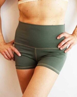 womens-yoga-shorts-Sage-green-High-waist-by-Sweat-n-Stretch