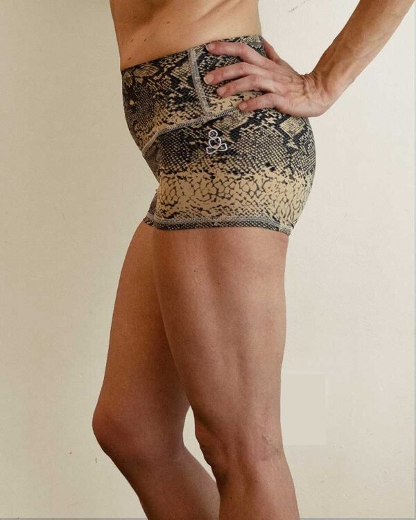 Womens-hot-yoga-shorts-Snake-print-by-Sweat-n-Stretch